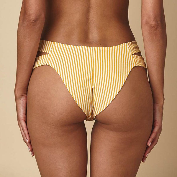 Canary Stripe Added Coverage Euro Bikini Bottom