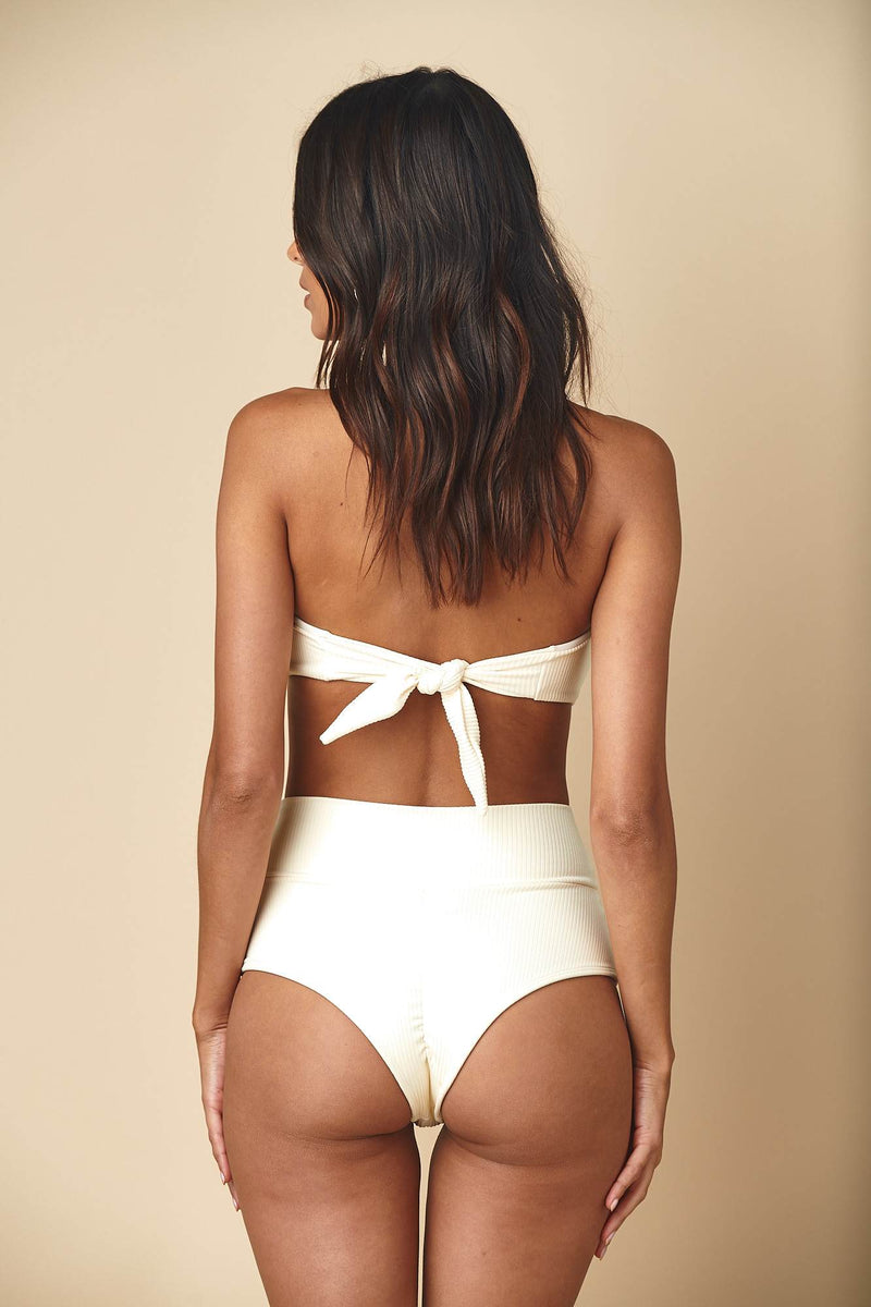 Cream Rib Tori Bandeau Top x High Rise Bottom Bikini Set