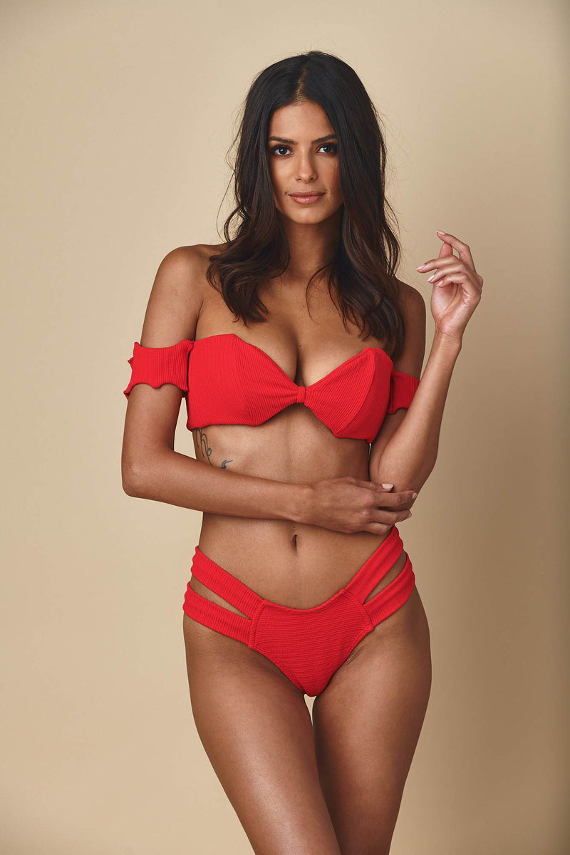 Crimson Micro Scrunch Bellini Sleeves Top x Euro Bottom Bikini Set