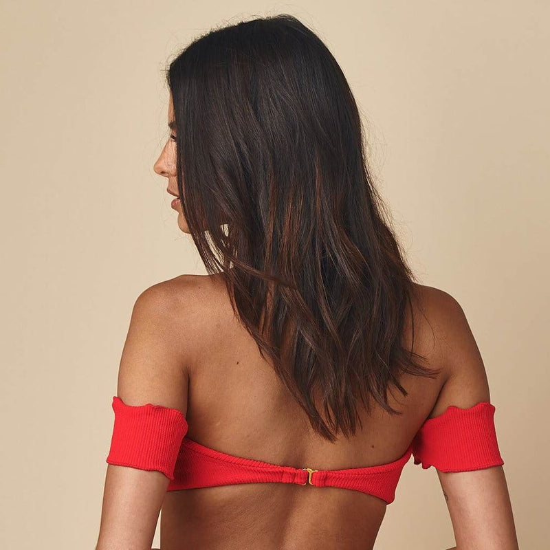 Crimson Micro Scrunch Bellini Sleeves Bikini Top