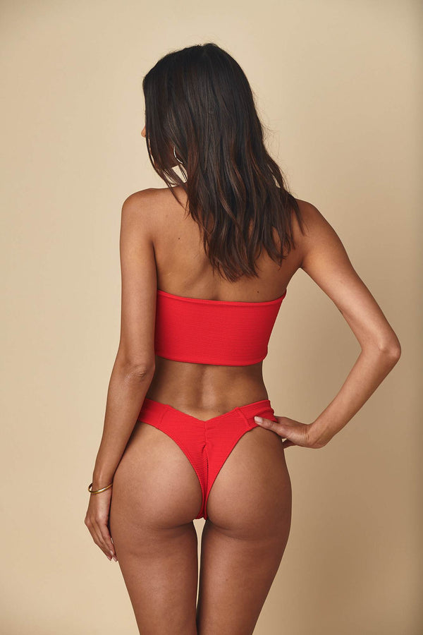 Crimson Micro Scrunch Corset Top x Uno Bottom Bikini Set