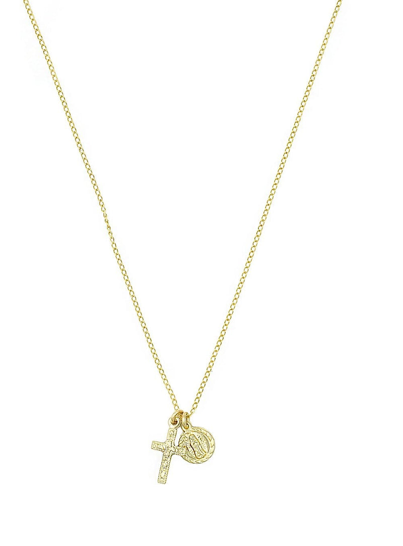 Mary and Cross Necklace (Gold)