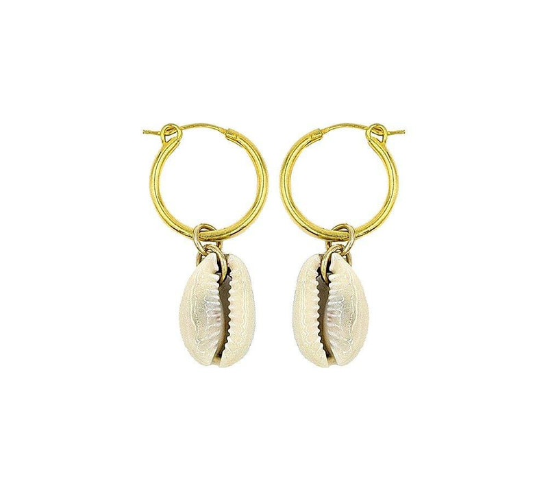 Natural Cowrie Hoops