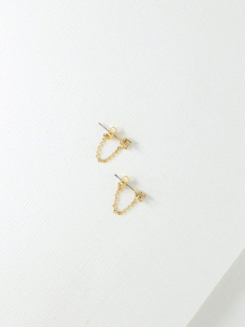 Gold Lila Stud & Chain Earrings