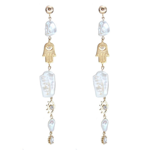 Malocchio Pearl Earrings- Gold