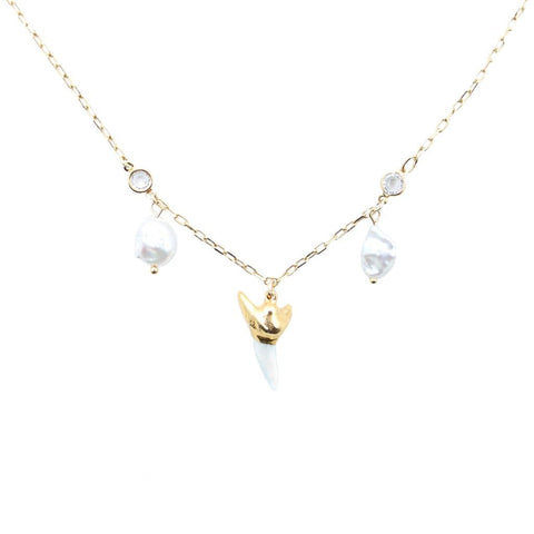 Gold Martello Pearl Necklace