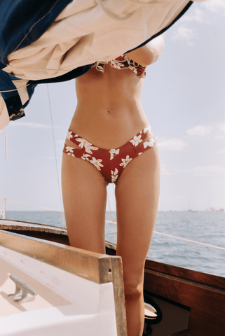 Chocolate Floral Euro Bikini Bottom