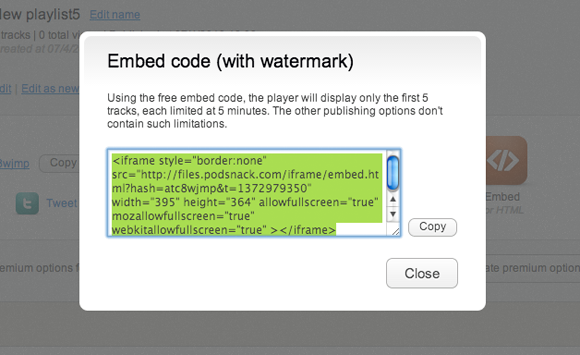 Movie maker and editor, embed audio player html code, video intro