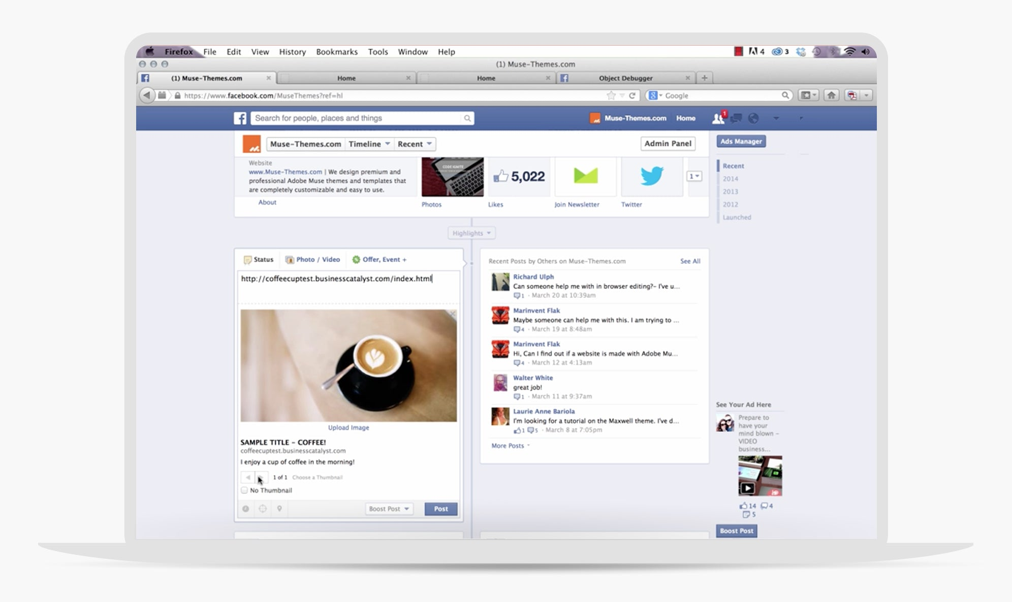 Adobe Muse Facebook Previews Widget by MuseThemes