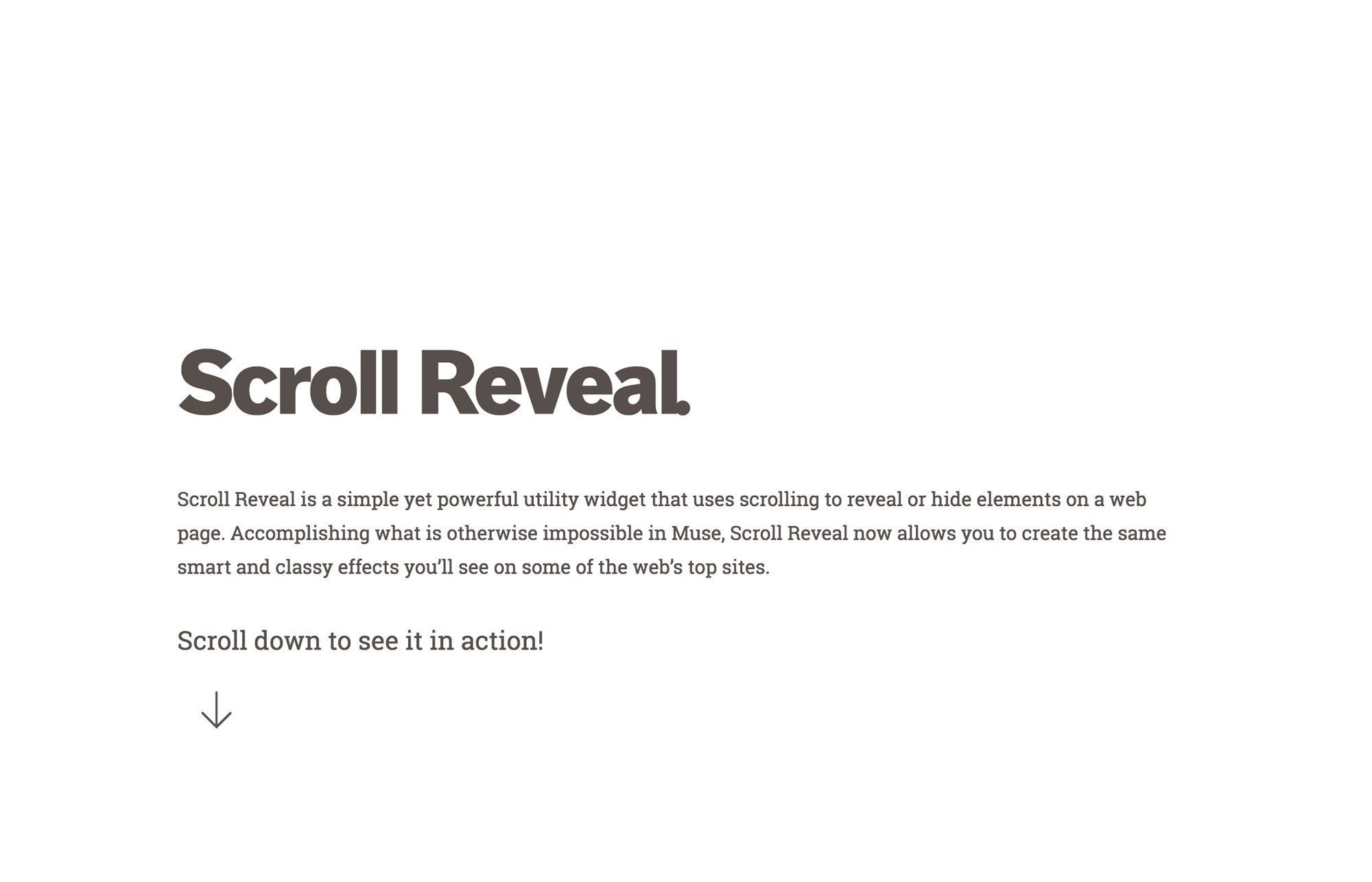 Scroll Reveal Widget by MuseThemes for Adobe Muse