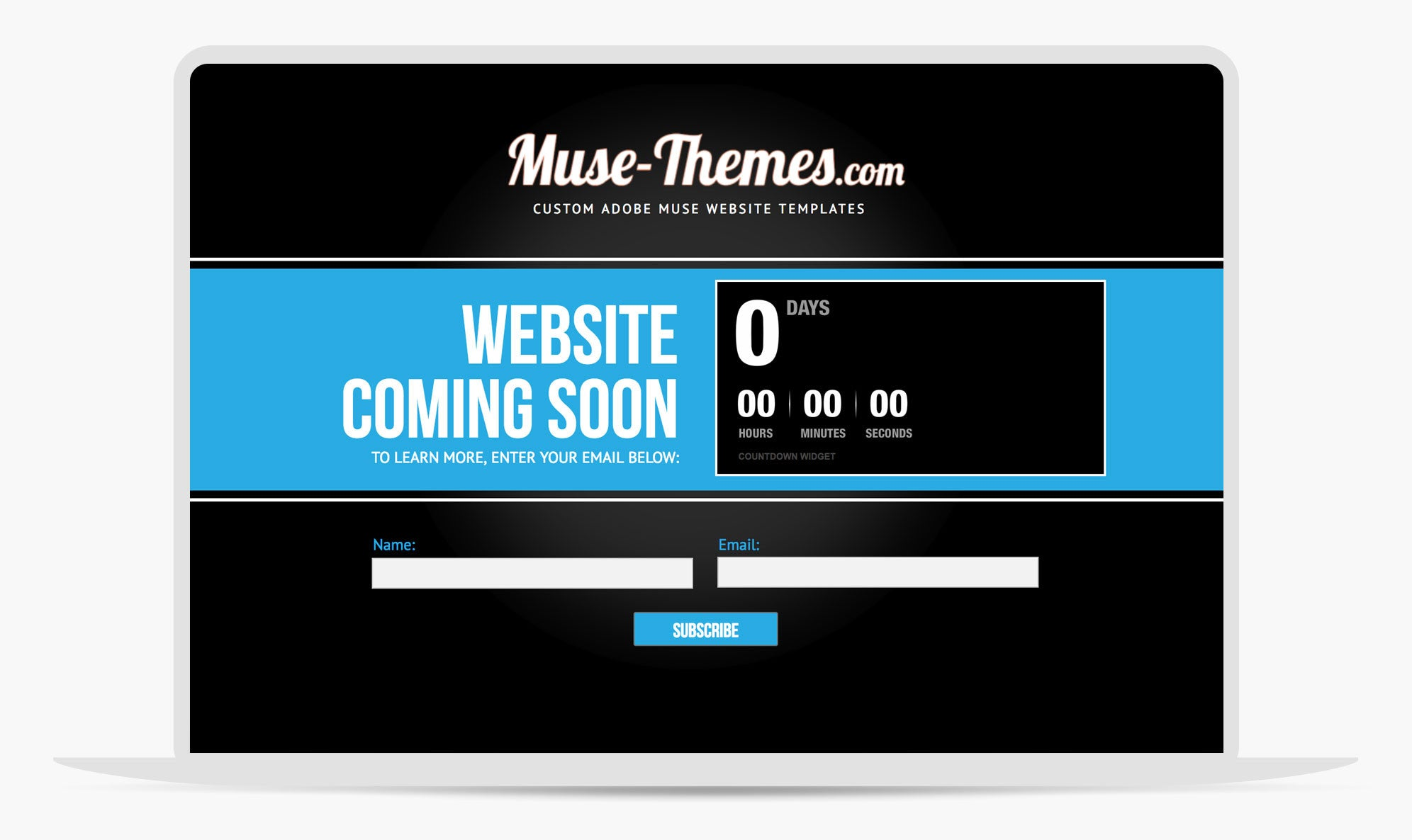 Muse Website Theme Coming Soon Page For Adobe Muse - Adobe muse website templates