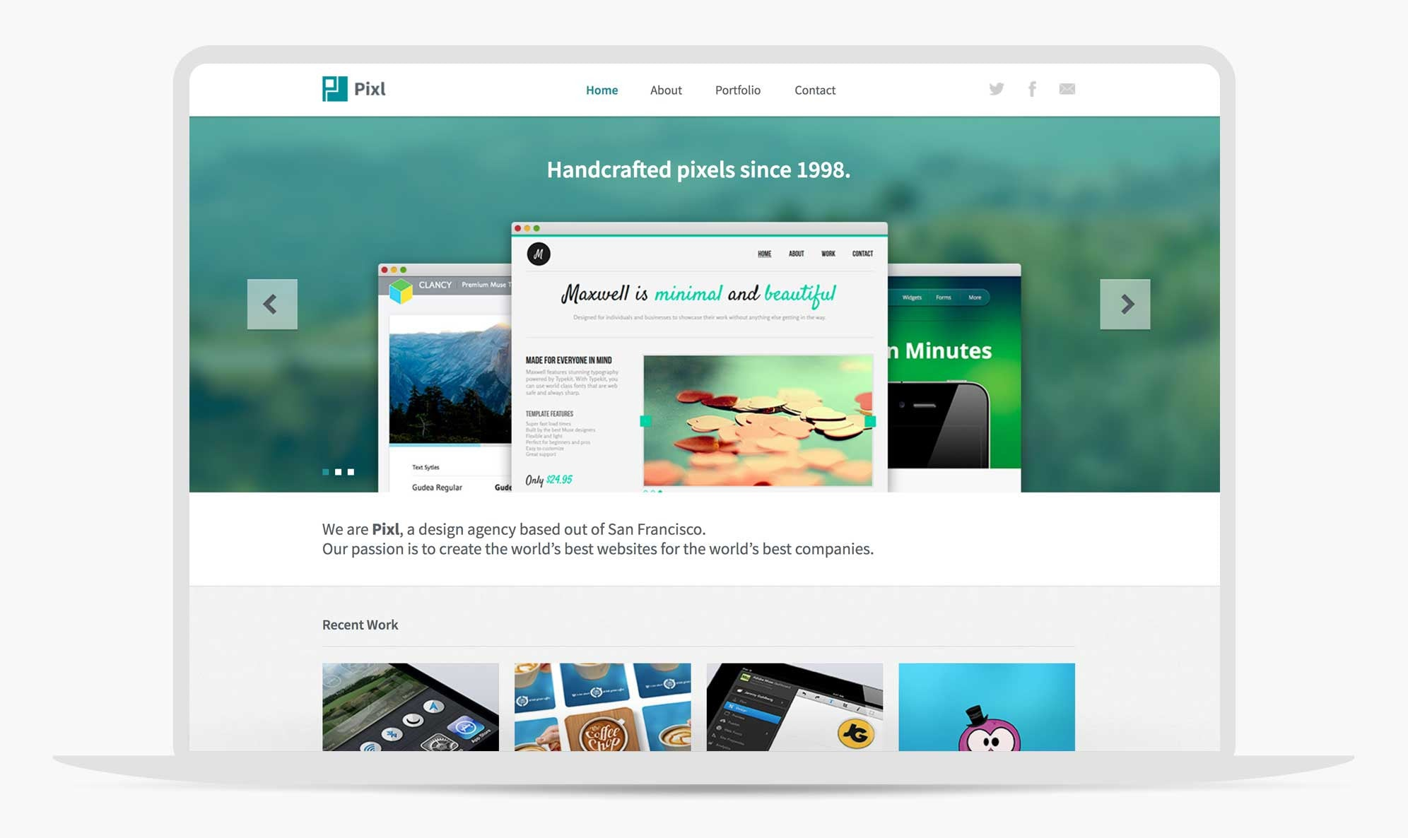 Download Adobe Muse template Pixl - by MuseThemes com