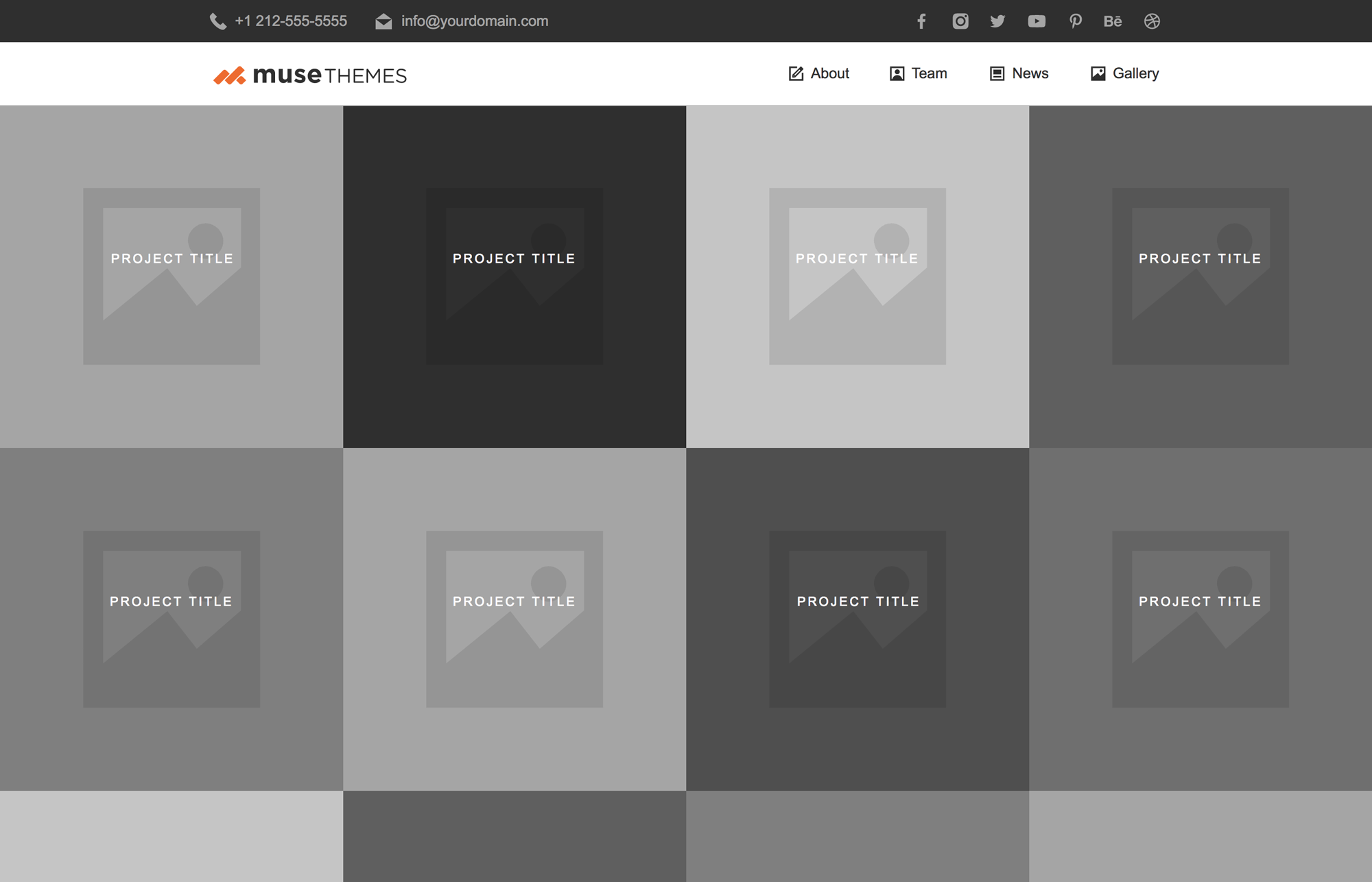 Adobe Muse WireFrames - Nitrogen - Responsive Layout Pack #5