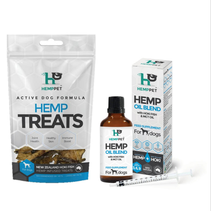 Hemp-Hoki-MCT oil Blend and Hoki Fish Treats Combo