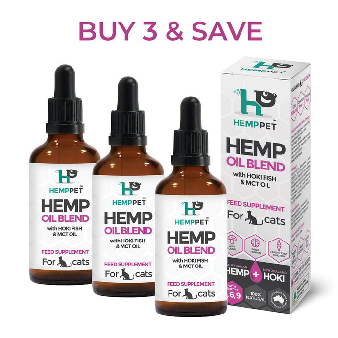 Hemp Oil Blend with Hoki Fish and MCT Oil for Cats 3 x 100ml