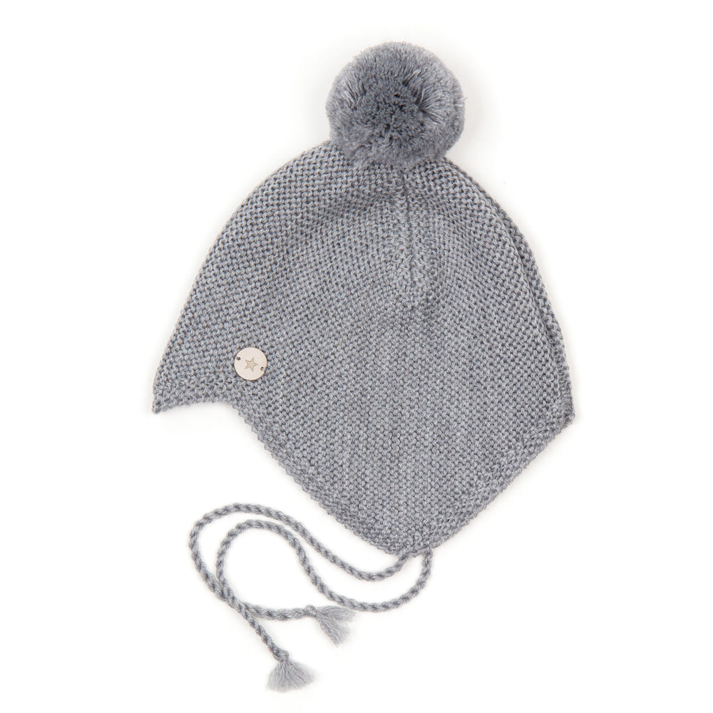 """Babie"" hat in light gray with fakefur pompom"