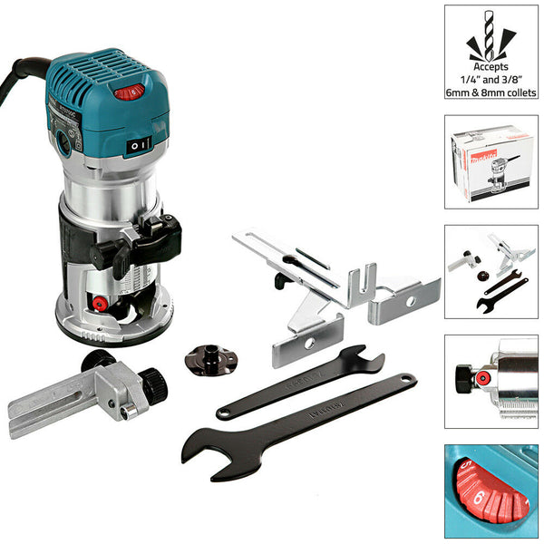 "Makita RT0700CX4/2 1/4"" Router / Laminate Trimmer with Trimmer Guide 240V"