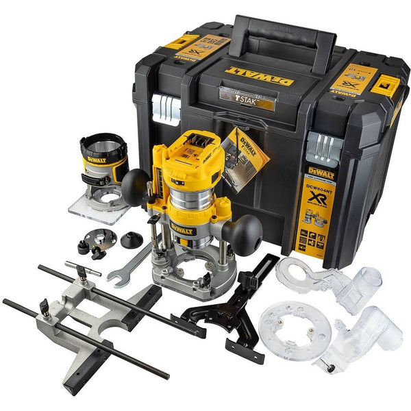 "Dewalt DCW604NT 18V Brushless Laminate Trimmer 1/4"" Router With Plunge Base Case"