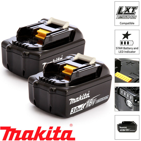 Makita Genuine BL1830 18V 3.0Ah Battery Twin Pack For Makita DHP453Z, DHP482Z