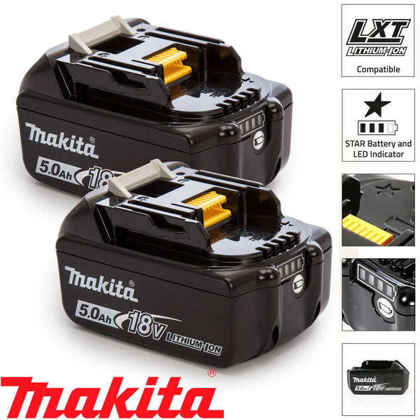 Makita Genuine BL1850 18V 5.0Ah Battery Twin Pack For Makita DGA454Z, DJR187Z