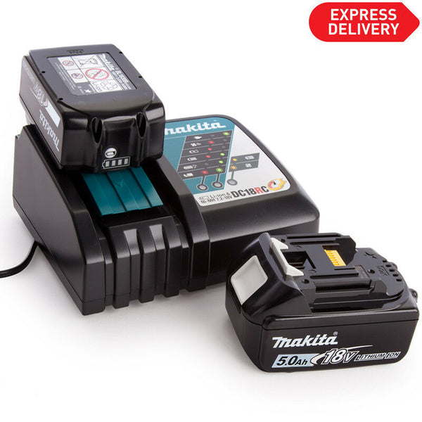 Makita BL1850 Genuine 18v Li-ion 5.0Ah Battery Twin Pack & DC18RC Charger Kit