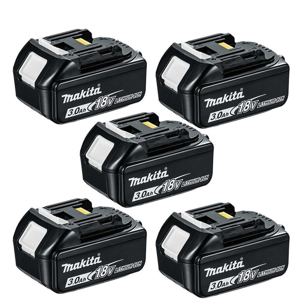 Makita Genuine BL1830 18V Li-ion LXT 3.0Ah Battery Pack of 5