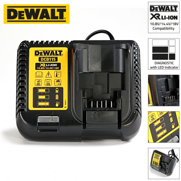 DeWalt DCB115-GB XR Chargeur de batterie Li-Ion multi-tension