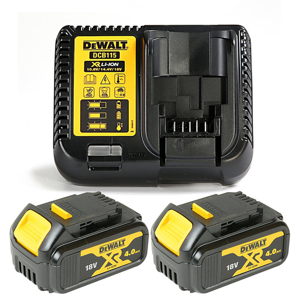 Dewalt DCB182 18V Li-ion 4.0Ah Battery Twin Pack & Dewalt DCB115 Charger Kit