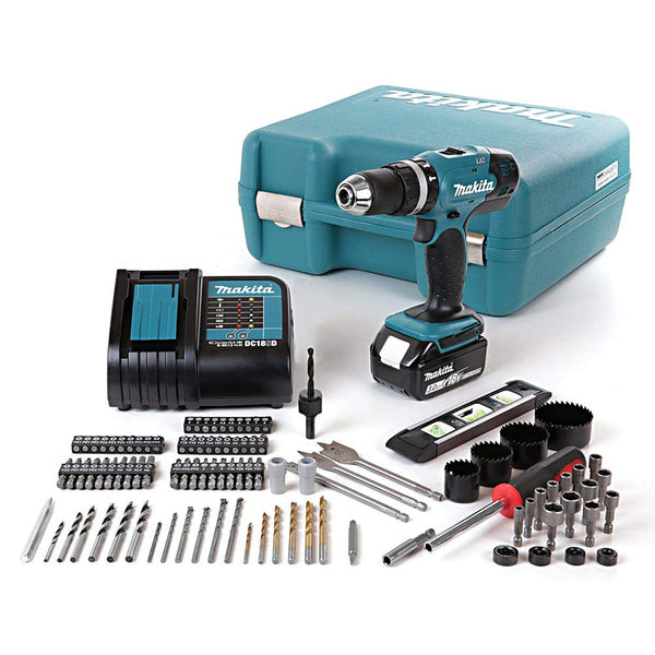 DHP453SFTK 18V LXT Combi Drill with 1 x 3.0Ah Battery, Charger & 101 Piece Acc. Set in Case, 18 V