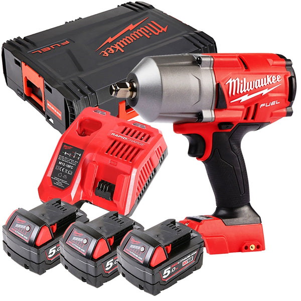 18V Impact Wrench + 3 x M18B5, Charger & Case - Comparethetools.eu
