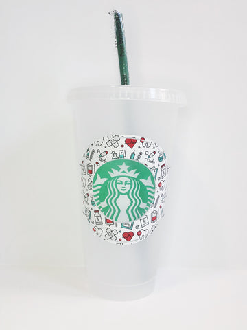 Starbucks Cold Cup w/ Medical theme decal