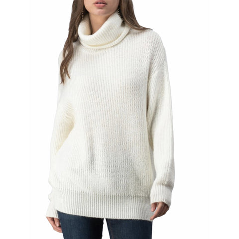 Soft knit turtleneck ivory tunic sweater