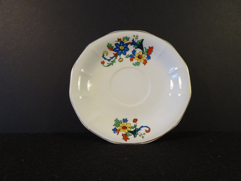 Floral Expressionism Print with Gold Trim on White 5.75in Saucer