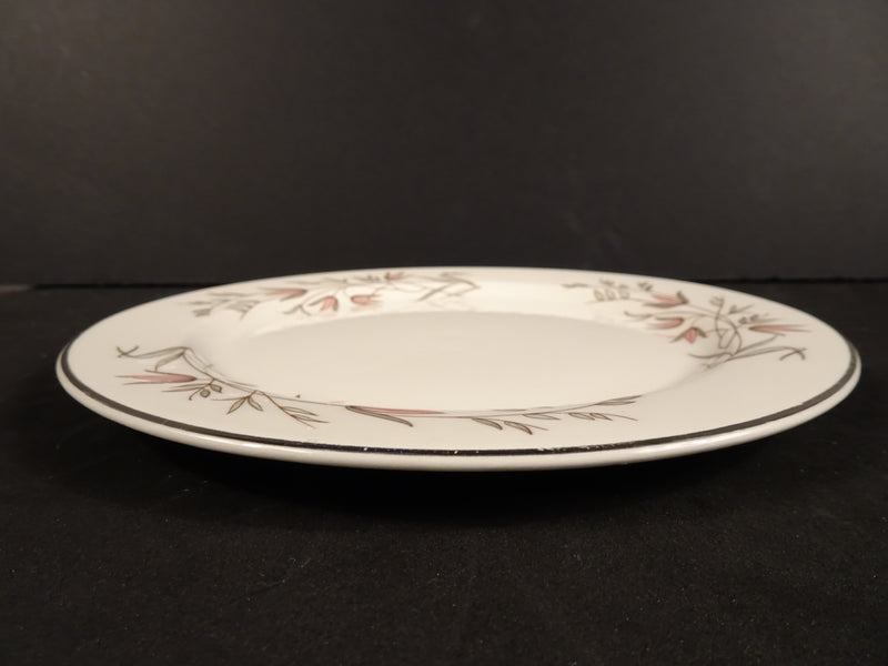 Cream White 7.25in Rimmed Salad Plate with Leaf Pattern
