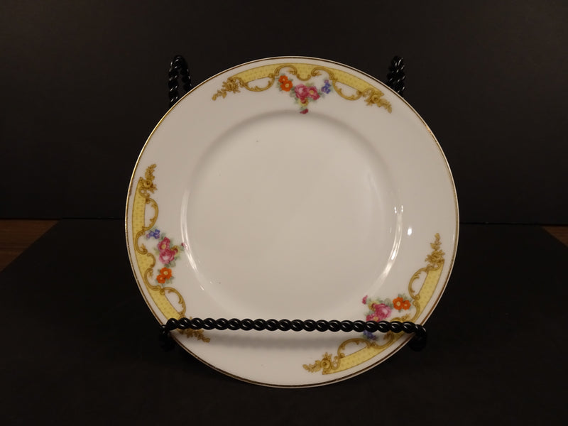 Czechoslovak White Rimmed Salad Plate with Rose Swags on Cream Band, 7in