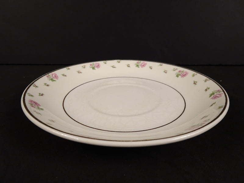 Cream White Saucer with Pink Rose Floral Band and Gold Trim 5.50in