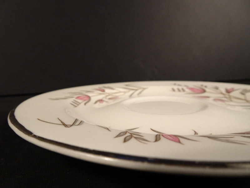 Cream White Saucer with Pink Flower and Green Leaf Pattern 5.95