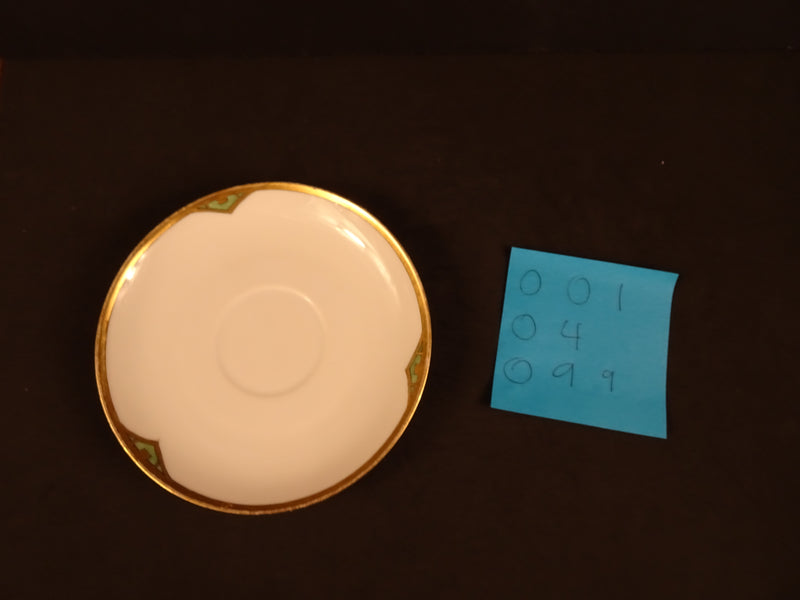 Green Markings with Thick Gold Trim on Solid White 5.45in Coupe Saucer