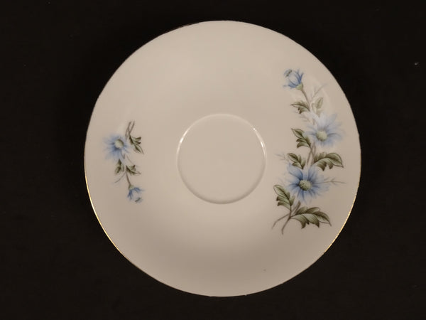 Blue Flowers and Green Leaves with Gold Trim on Solid White 5.75in Coupe Saucer