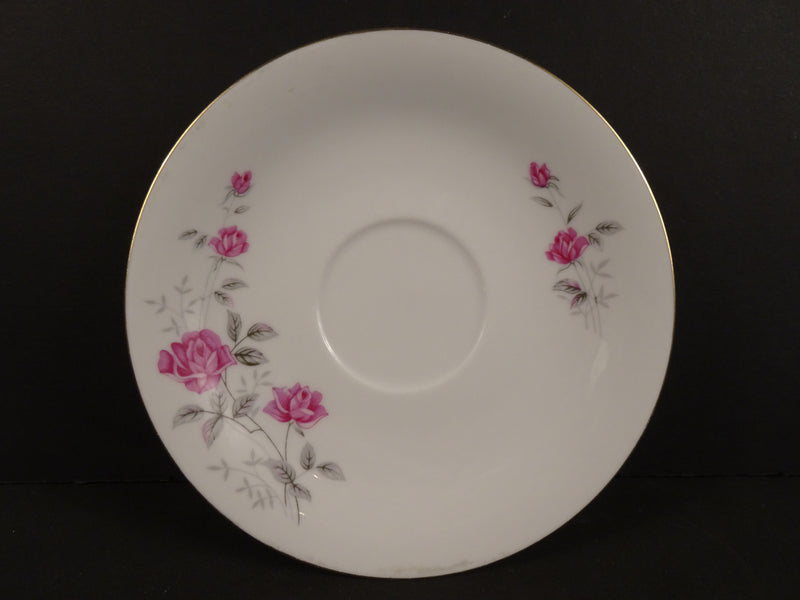Pink and Grey Roses with Gold Trim on White 5.75in Coupe Saucer