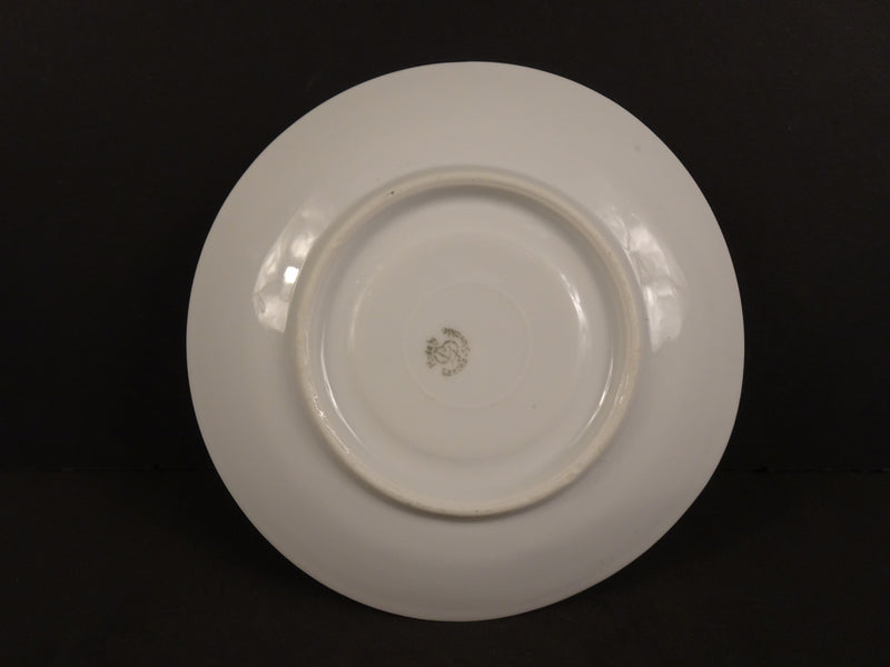 Czechoslovak White Coupe Saucer with Rose Swags on Cream Band  5.75in