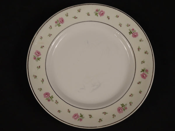 Cream White Bread and Butter Plate with Pink Floral Pattern Around Trim 5.85in