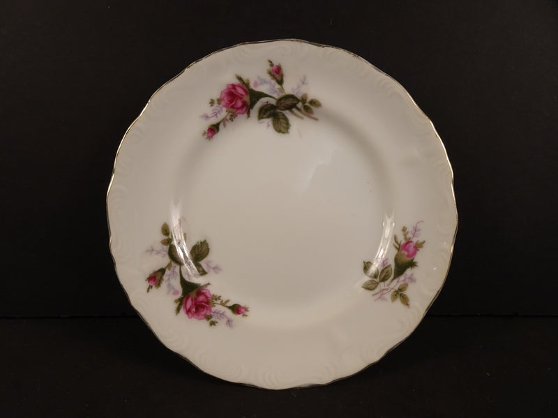 Three Pink Flower Bouquets with Green Leaves and Gold Trim on White 6in Rimmed Bread and Butter Plate