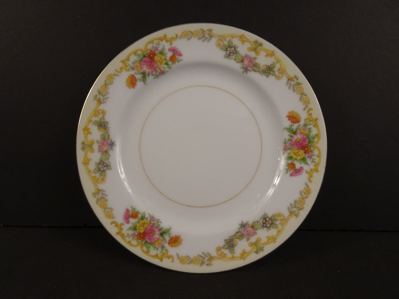 Czechoslovak White Rimmed Bread and Butter Plate with Rose Swags on Cream Band  5.9in