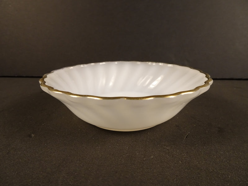 White Swirl with Gold Trim Coupe Fruit Bowl