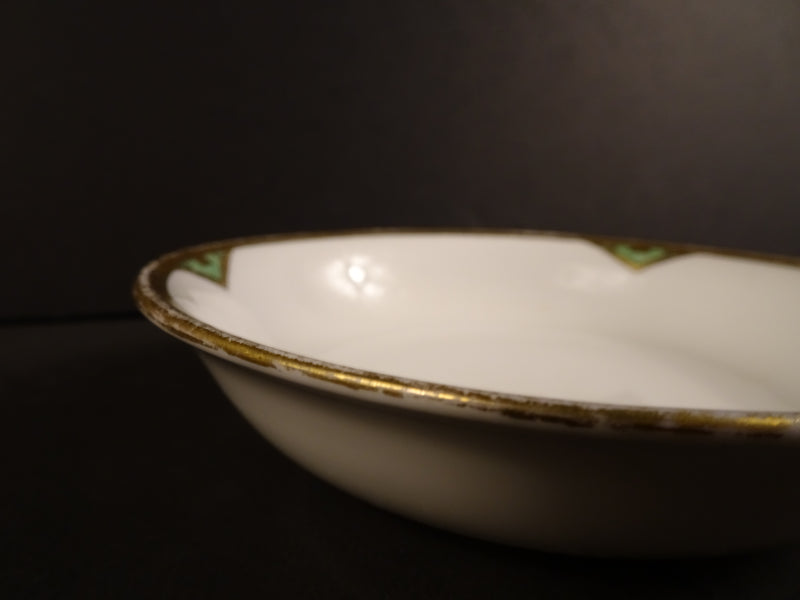 Green Markings with Thick Gold Trim on Solid White 5.25in Coupe Fruit Bowl