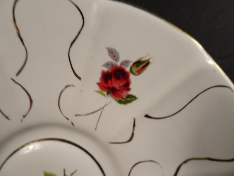 Red Roses and Gold Swirls on Cream White 4.75in Demitasse Saucer