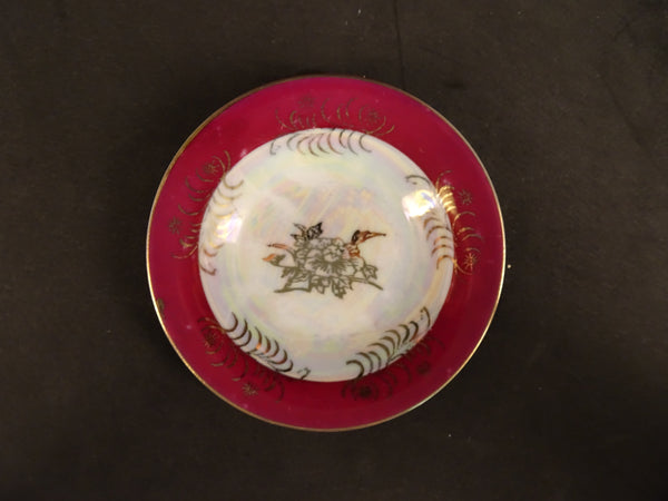 Gold Flower Pattern on White Center with Thick Red Trim, 4.5in Demitasse Saucer