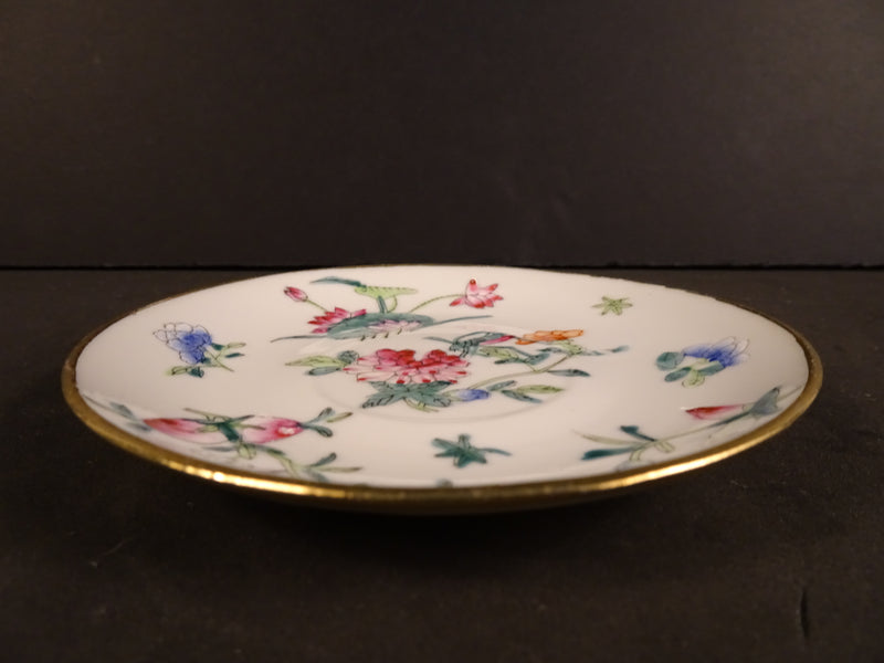 Multicolored Floral Patterns  in White 4.5in Demitasse Saucer