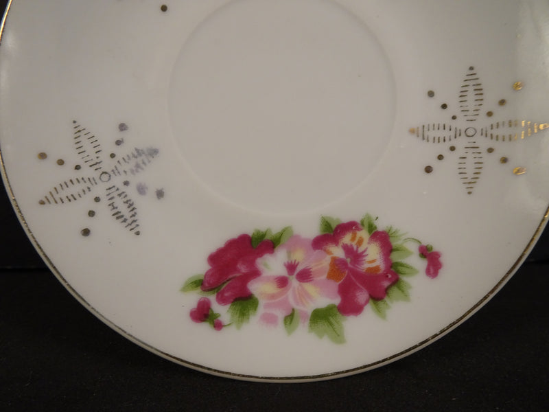 Red, Pink & Golden Flower Designs with Gold Trim on White 3.9in Demitasse Saucer